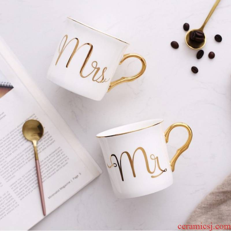 European creative gold handle ipads China mugs picking cups of coffee cup office by drinking a cup a cup of milk tea cup for breakfast