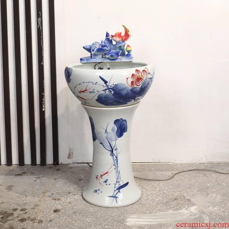 Pillar type ceramic filter tank home sitting room goldfish bowl Pillar landing fish basin automatic cycle water
