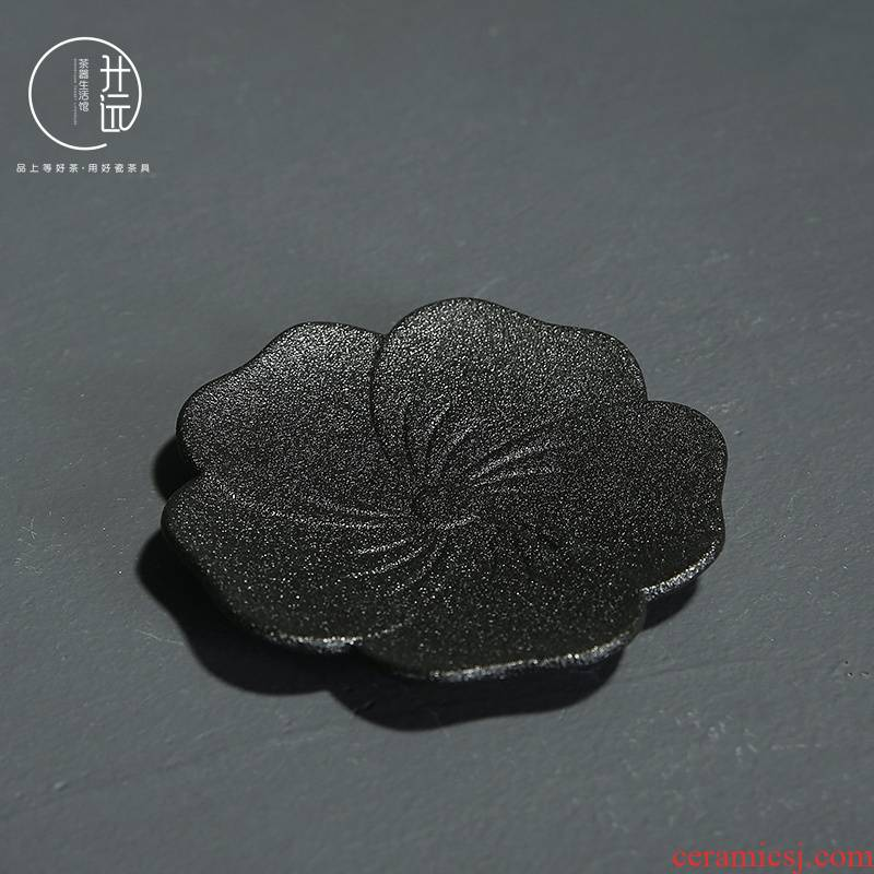 Black pottery teacup pad restoring ancient ways heat insulation cup mat contracted glass cups and saucers saucer ceramic kung fu tea tea accessories