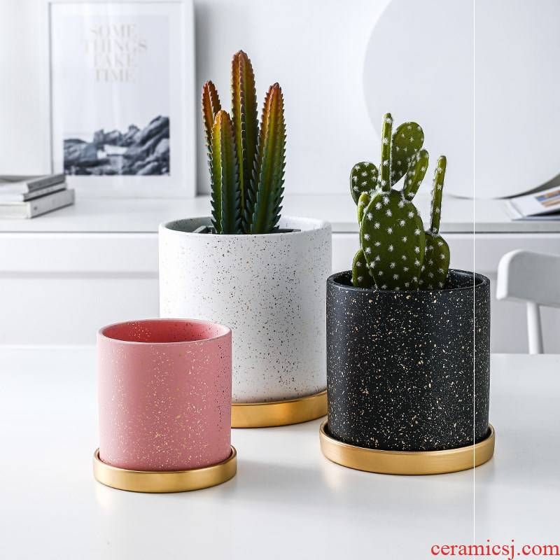 Ceramic straight flowerpot with tray was creative move other special small light key-2 luxury northern wind round bowl