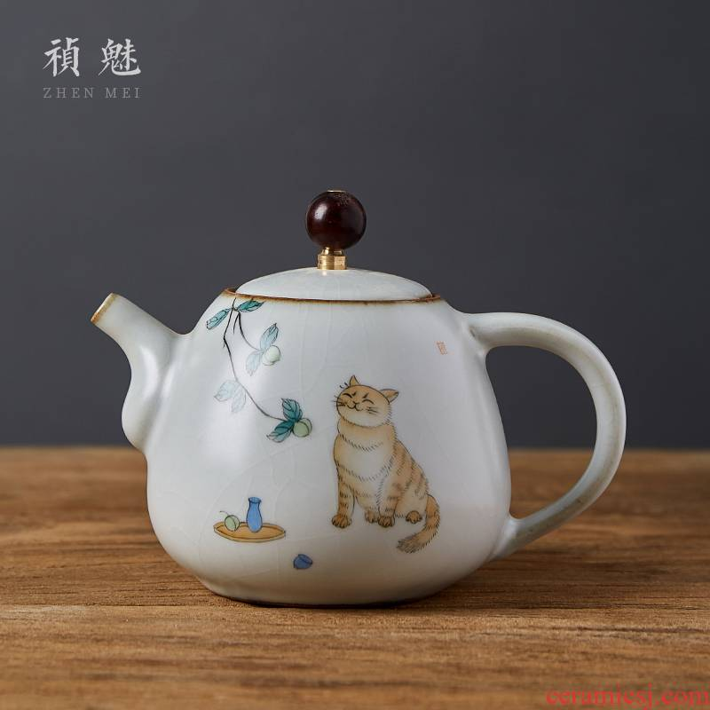 Shot incarnate all hand your up cat jingdezhen ceramic teapot hand - made kung fu tea set household teapot single pot