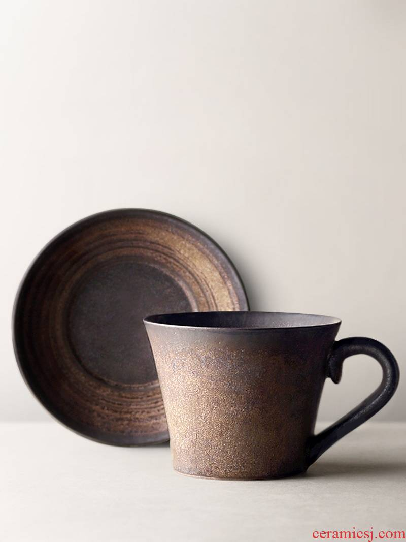 About Nine soil Japanese checking coarse pottery retro coffee cups and saucers move gold cup cup custom item cup couples in the afternoon
