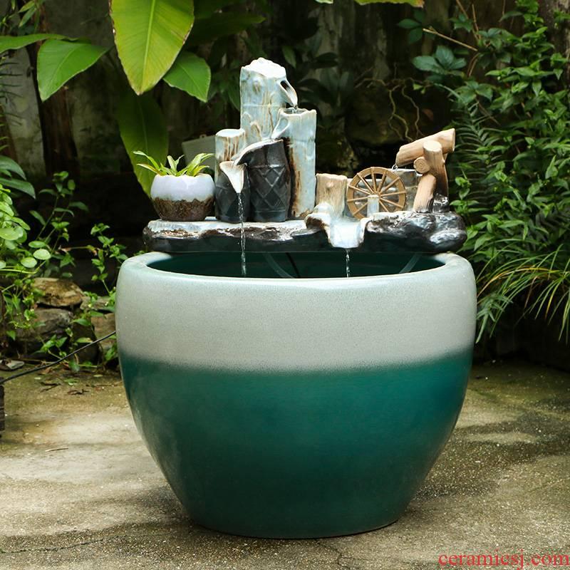 Jingdezhen ceramic aquarium circulating water fountain furnishing articles with small sitting room aquarium fish basin humidifying landscape