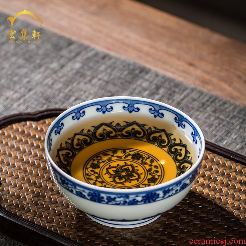 The Master cup tie up branch lines of blue and white porcelain of jingdezhen all checking ceramic teacups hand - made treasure grain sample tea cup small bowl