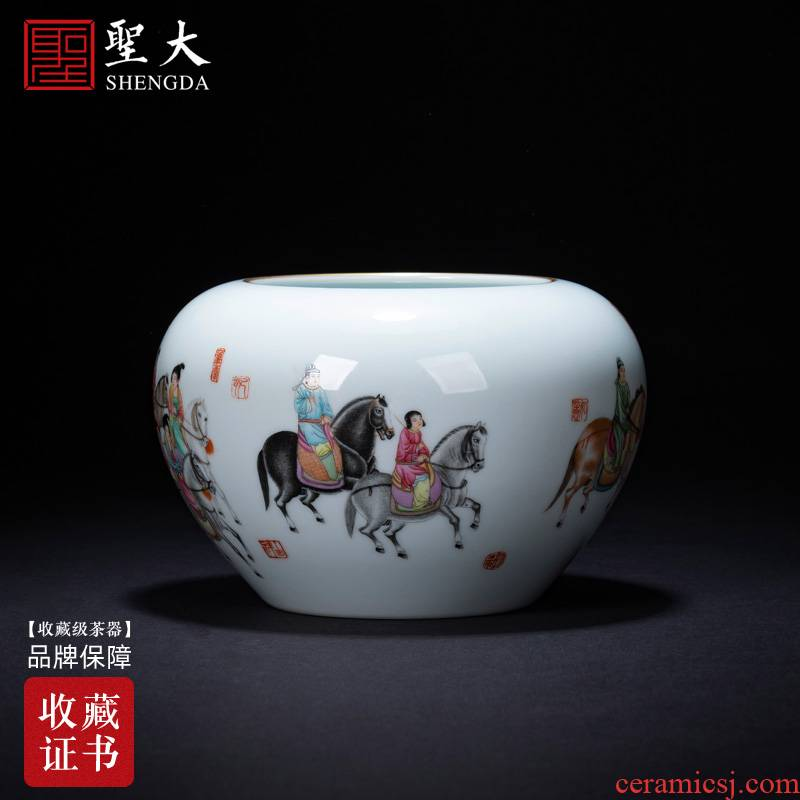 "Holy big ceramic water jar manual pastel character poems for wash water jar kung fu tea set ""four supplies accessories of jingdezhen"