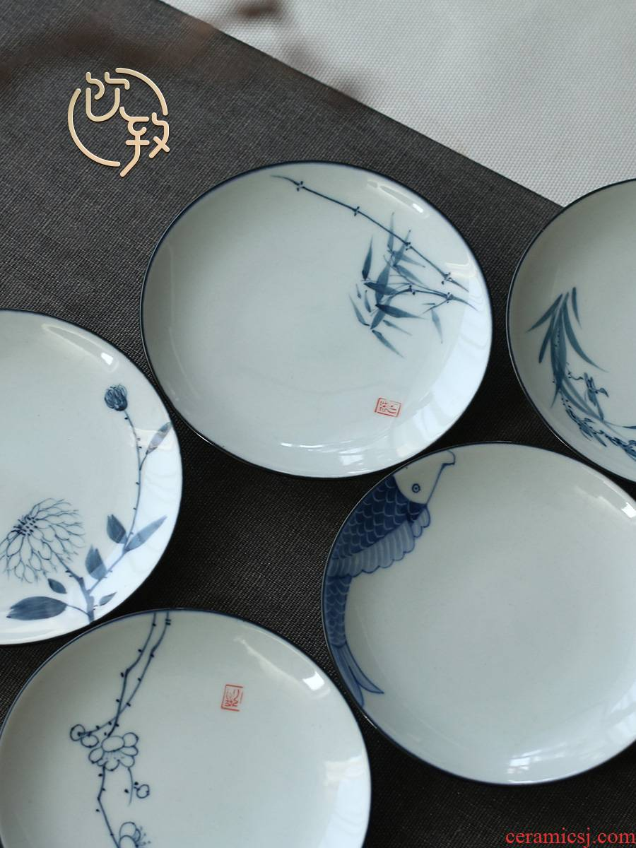 Ultimately responds to hand draw a blue and white porcelain cup mat jingdezhen ceramic cups at spare parts for Japanese antique tea dish of tea taking