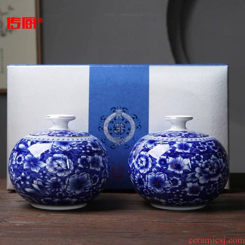 The kitchen heaven and earth radius of blue and white porcelain tea pot double canned 】 【 general white tea half jins pack cartons can decide