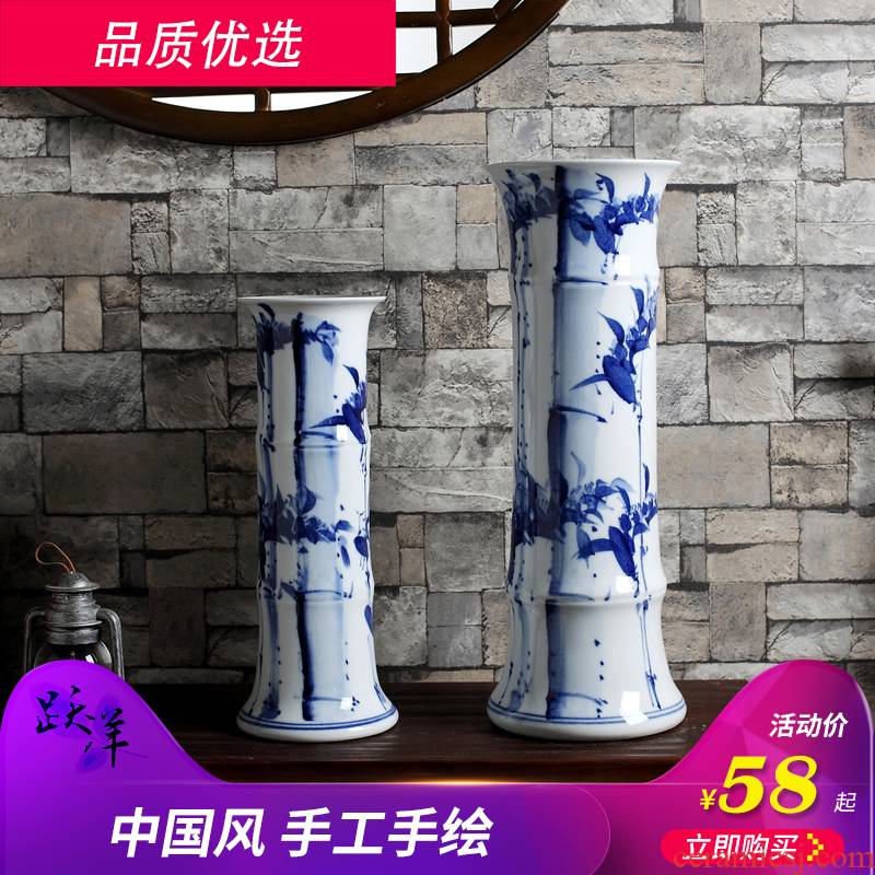 Lucky bamboo bamboo bottles of jingdezhen ceramic vase furnishing articles sitting room flower arranging device small Chinese household decorative arts and crafts