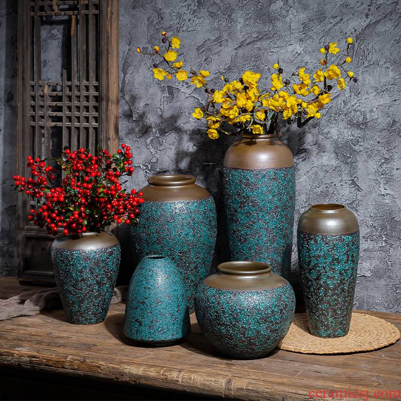 New Chinese style restoring ancient ways ceramic vase planting dry flower zen furnishing articles manually tea house sitting room adornment coarse pottery flowerpot