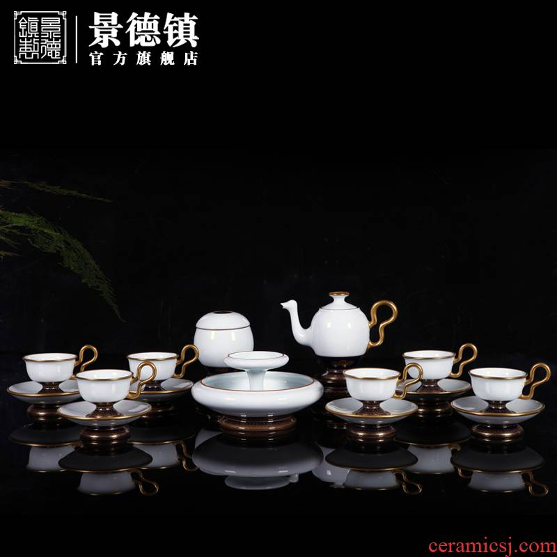 Jingdezhen flagship store ceramic see colour tea set manually set the home office business tea cups set of gift boxes