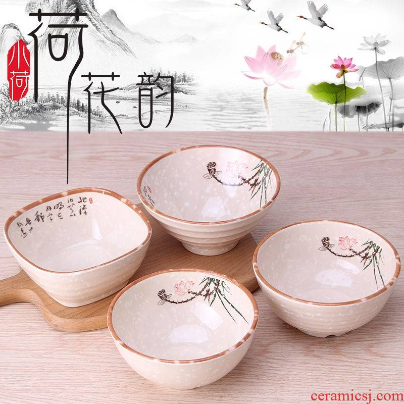 The domestic melamine bowl ltd. kitchen lotus plastic bowl of rice, a Japanese small bowl imitation porcelain tableware to use spoon, dip in a cup of hot pot