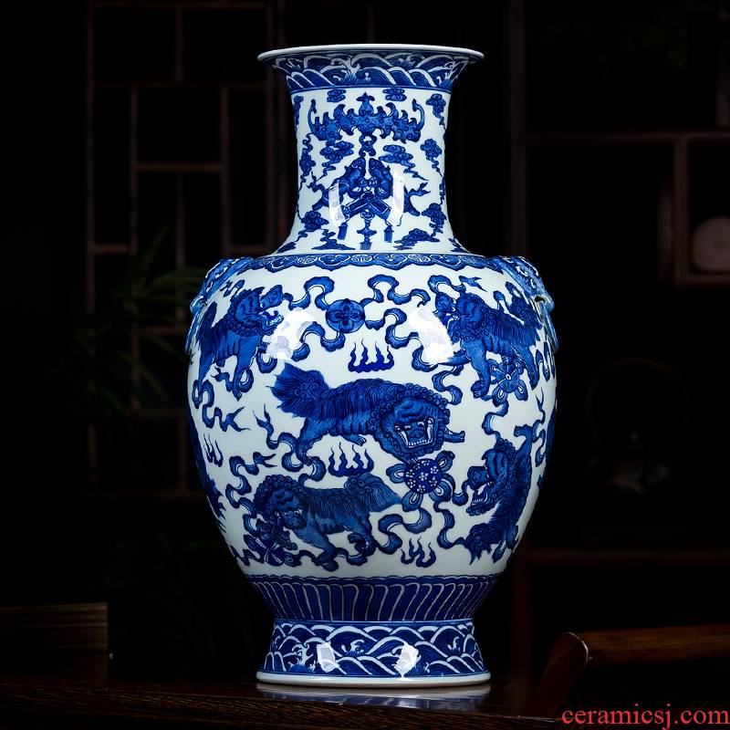 Jingdezhen ceramics glaze color hand - made the ears of the blue and white porcelain vase under the classical Chinese style household act the role ofing is tasted furnishing articles in the living room