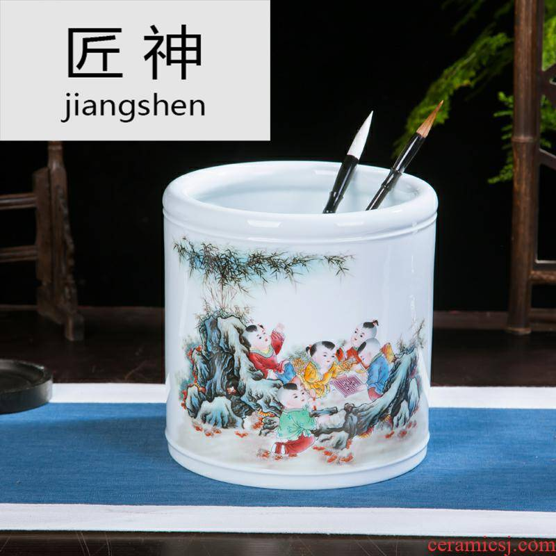 Jingdezhen ceramic oversized brush pot furnishing articles office supplies handicraft decoration receive brush barrels of four treasures of the study