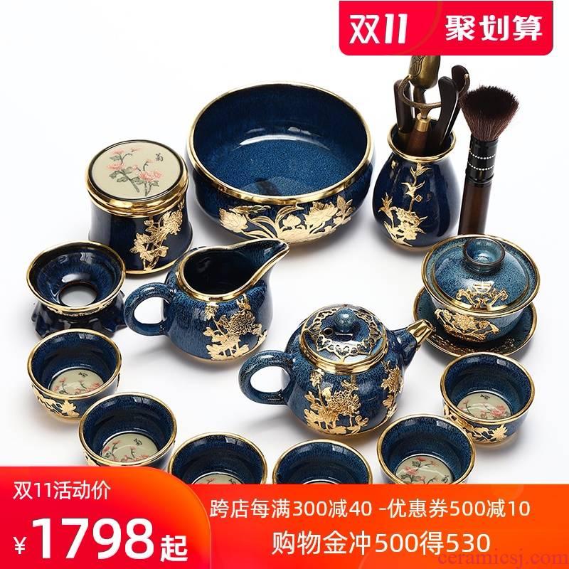 Recreational product an inset jades built lamp that kung fu tea set jingdezhen teapot home sitting room tureen tea cups