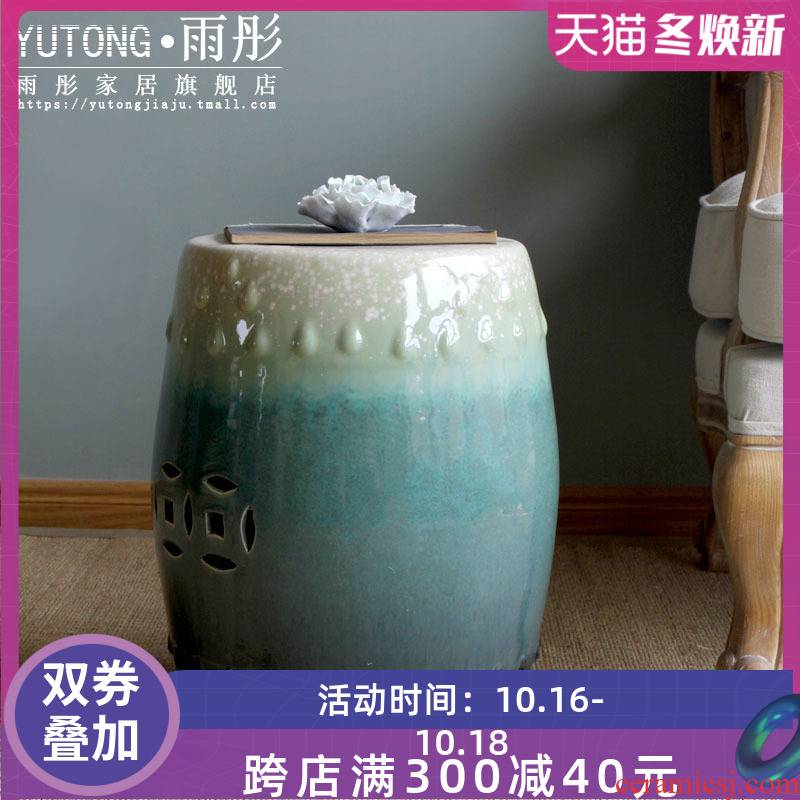 Jingdezhen ceramic furnishing articles of new Chinese style drum who round gradients cold pier sitting room sofa tea table dressing table who