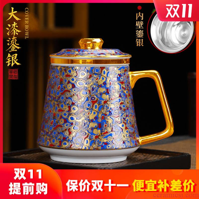 Artisan fairy coppering. As rhinoceros leather office cup white porcelain cup silver big household creative with cover filtration separation tea tea cup
