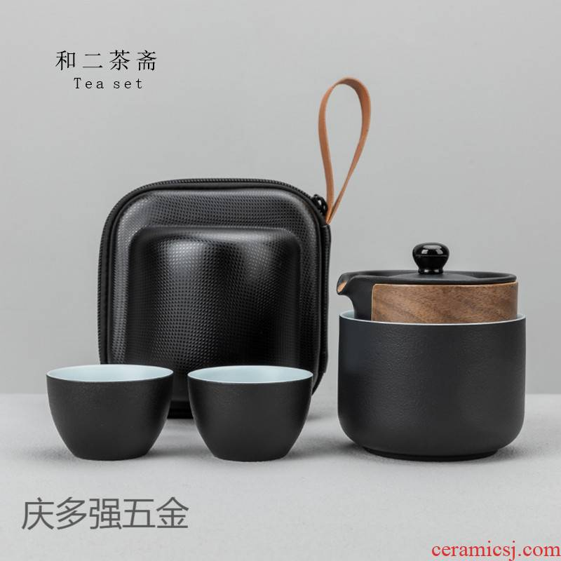 Crack a pot of three single ceramic cup two black pottery high - end portable packets travel tea set custom