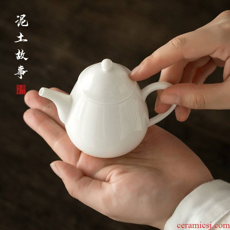 Lard white little teapot mini white porcelain ceramic tea sets single pot of tea set ceramic teapot