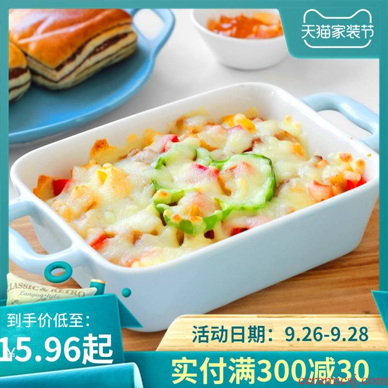 Many home baked cheese ceramic ears rectangle microwave oven roasted bowl for FanPan bowl plate