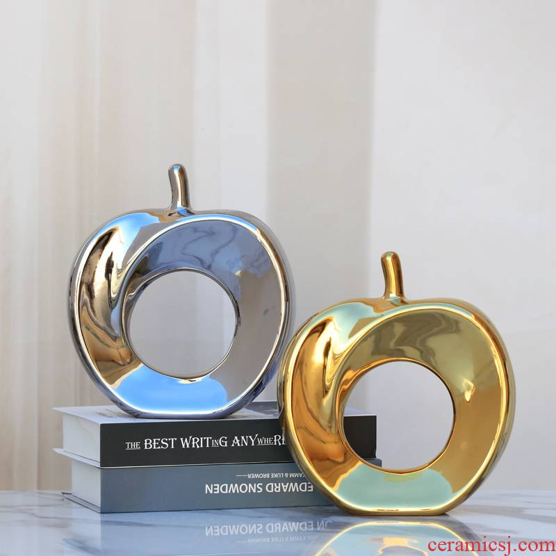 Gold silver apple small place in plutus European ceramics, household living room TV cabinet wine accessories