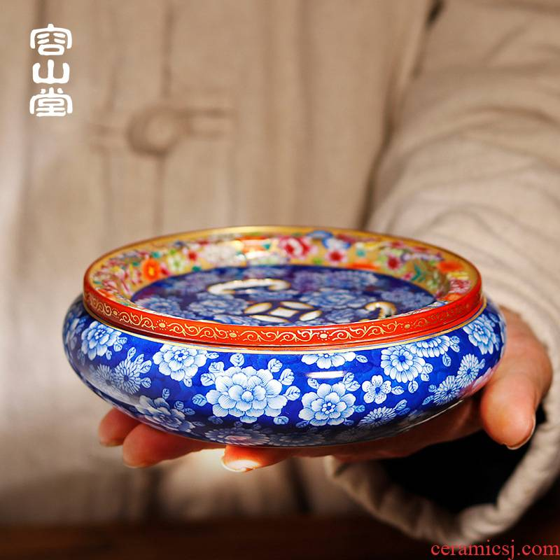 Shadow enjoy ancient jun porcelain enamel see colour dry Taiwan tea tray was jingdezhen porcelain pot of water, small round tea table