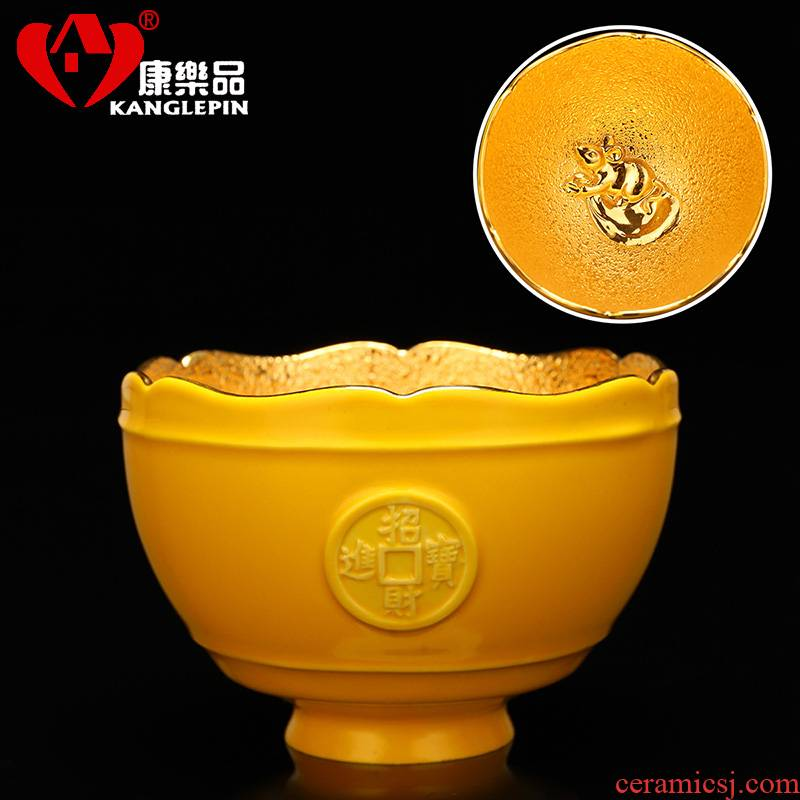 Recreational product emperor huang ceramic masters cup 24 k gold cups kung fu tea tea set little single cup sample tea cup, bowl