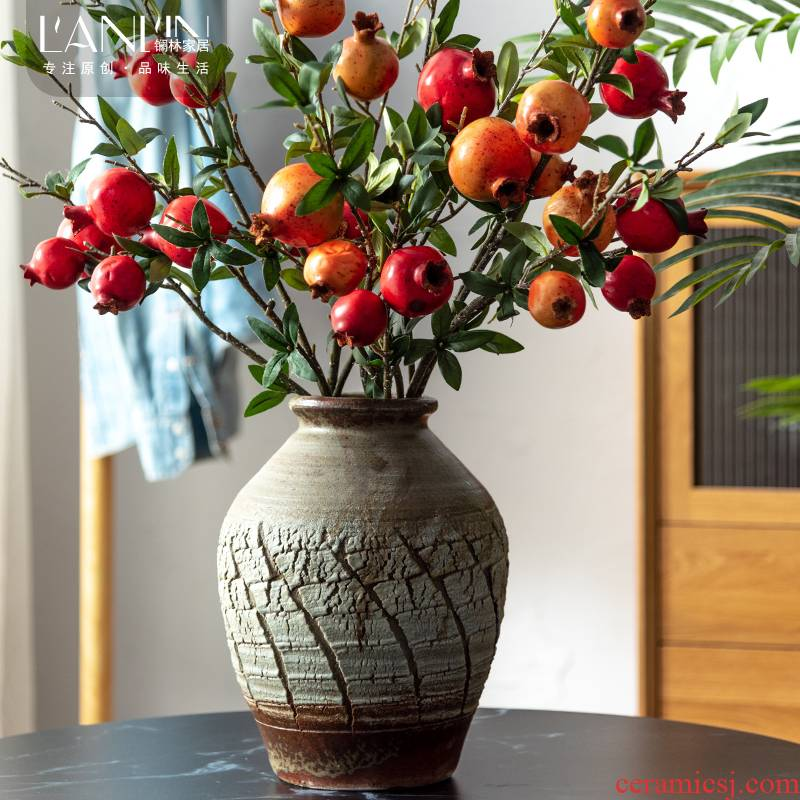 Coarse dried flowers decorate the sitting room some ceramic pot vase simulation flower flower arranging TV ark, Chinese style restoring ancient ways ceramic furnishing articles