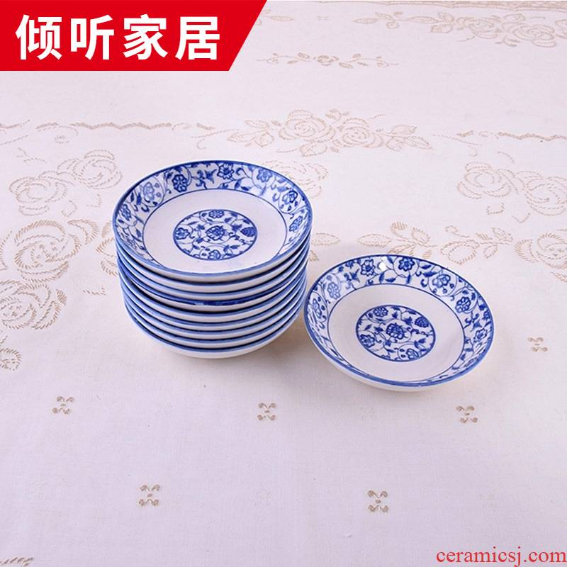 Jingdezhen blue and white porcelain little flavor dish of household ceramics 4 inches paste disc flavor dish banquet with cold dishes