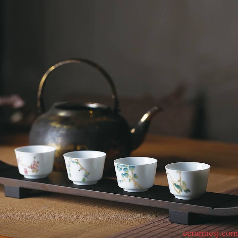 Pastel hand - made master cup of jingdezhen ceramic personal kung fu tea set thin foetus pu - erh tea cups sample tea cup