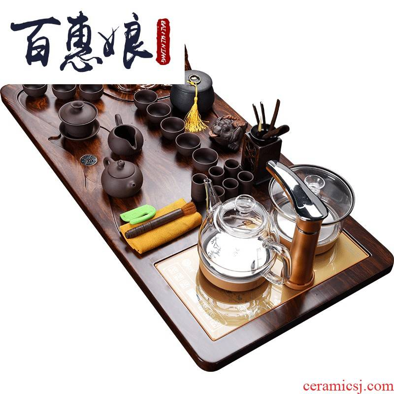 (niang kung fu tea set suit lucky Buddha and automatic water tea tray ceramic teapot teacup full automatic induction cooker