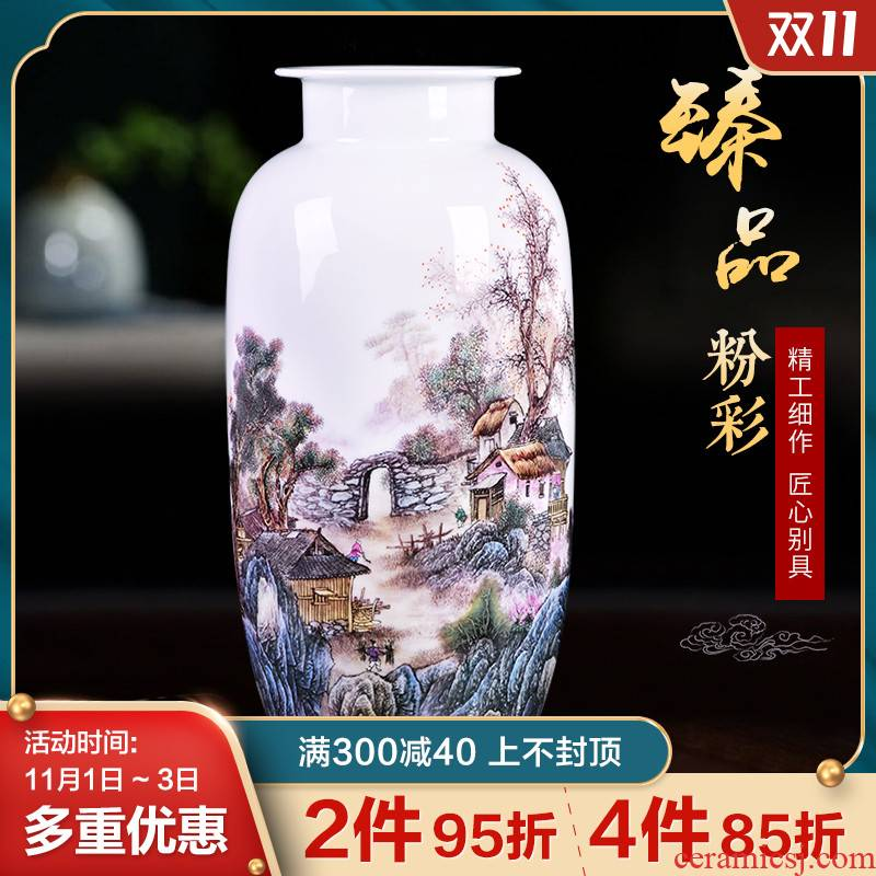 Jingdezhen ceramics flower arranging famille rose porcelain home decoration vase in the sitting room porch TV ark, study furnishing articles