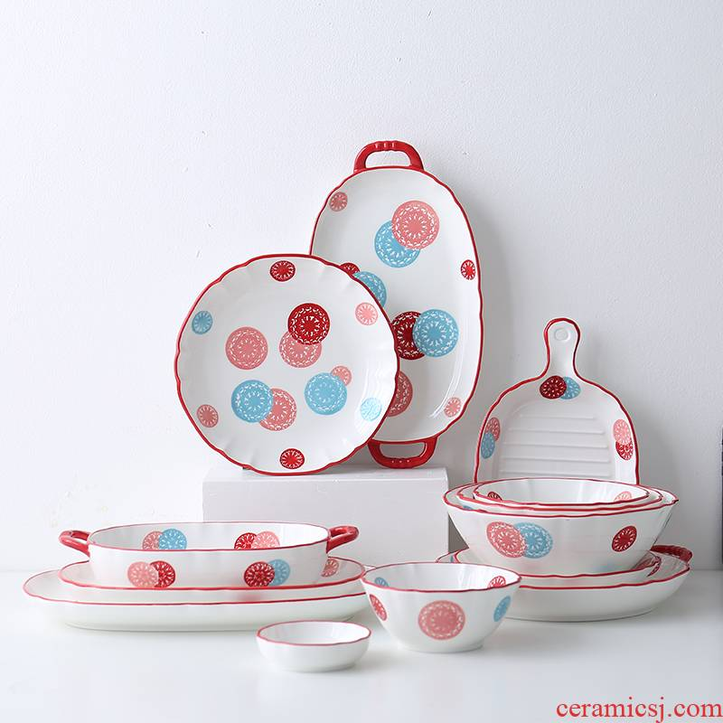 Nordic light wind ins web celebrity suit key-2 luxury ins wind dishes home dishes move so ceramic tableware
