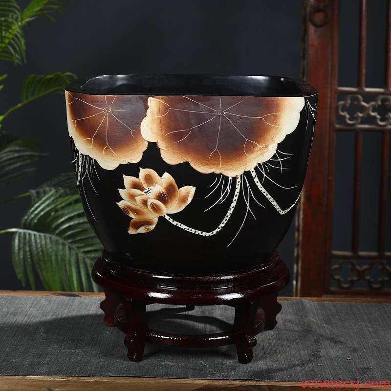 Jingdezhen ceramic aquarium retro courtyard square feng shui plutus goldfish bowl basin of water lily lotus large tortoise