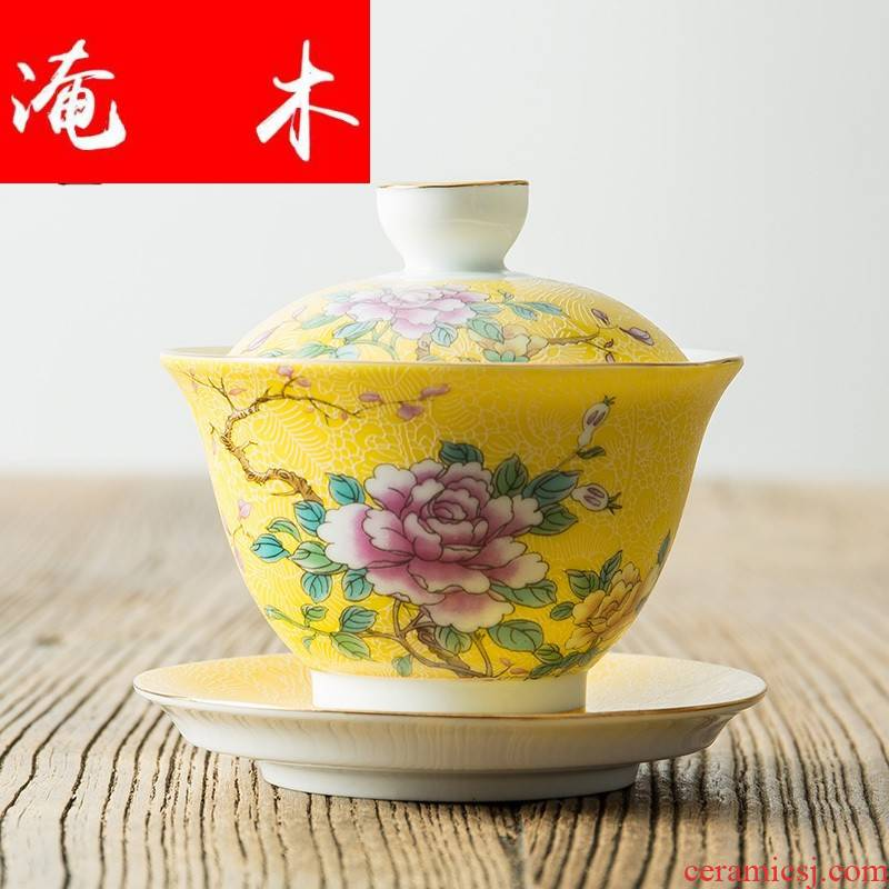 Flooded wooden pick flowers tureen large white porcelain of jingdezhen ceramics pastel colored enamel three bowl kung fu tea set