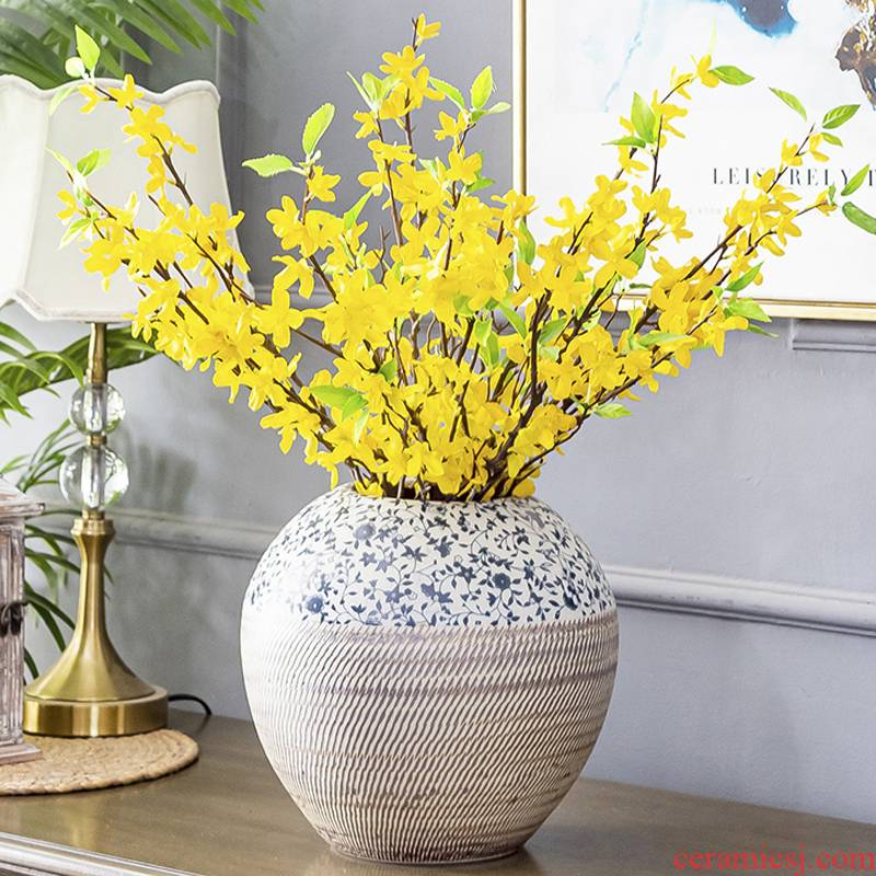 Jingdezhen ceramic vase furnishing articles creative sitting room porch ark place a flower flower implement household soft outfit decoration