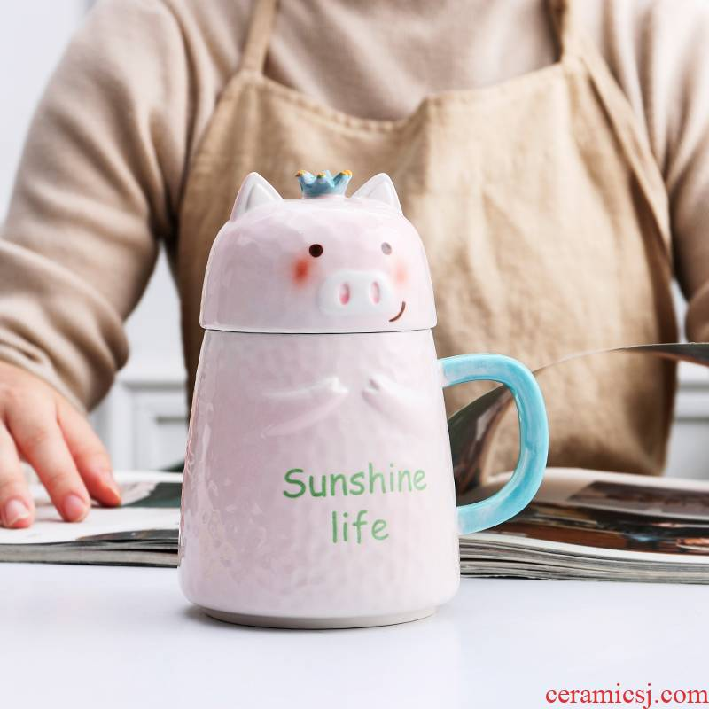 Ceramic cup female ins express cartoon super creative move trend of pig cup mark cup with cover