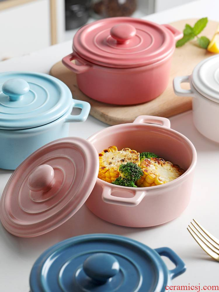 Ceramic bowl with cover baby baby side dish bowl of children 's ears steamed egg bowl bowl of stew stew egg dessert bird' s nest