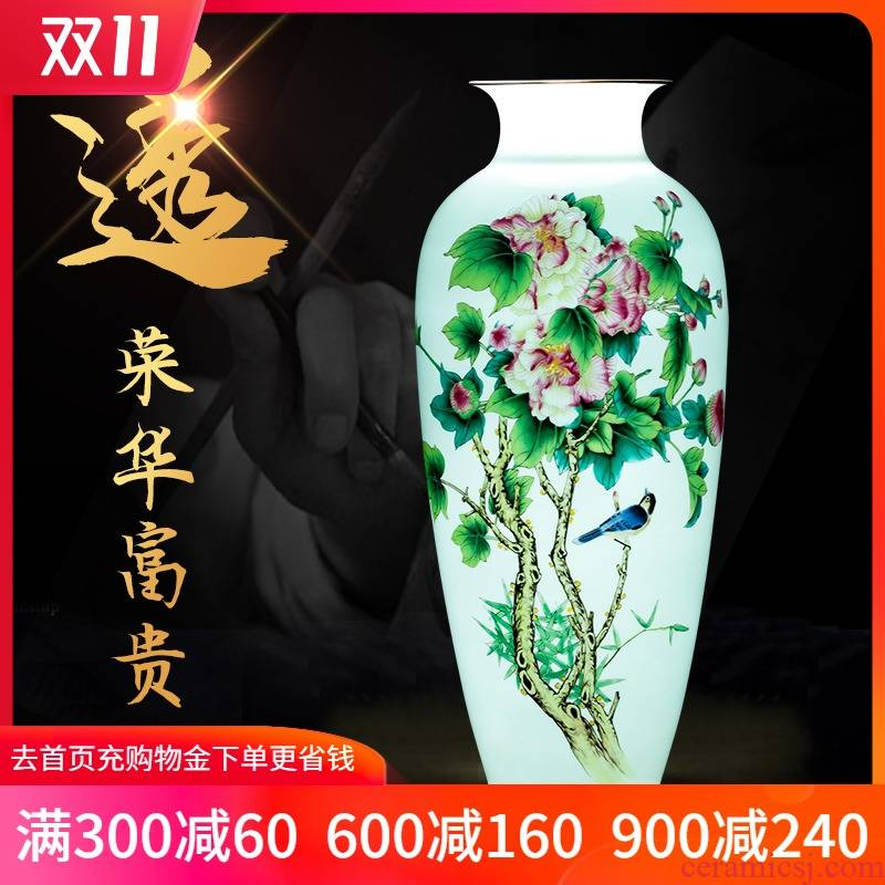 Jingdezhen ceramics thin foetus enamel vase of porcelain of splendor in the sitting room of Chinese style household decorative furnishing articles arranging flowers