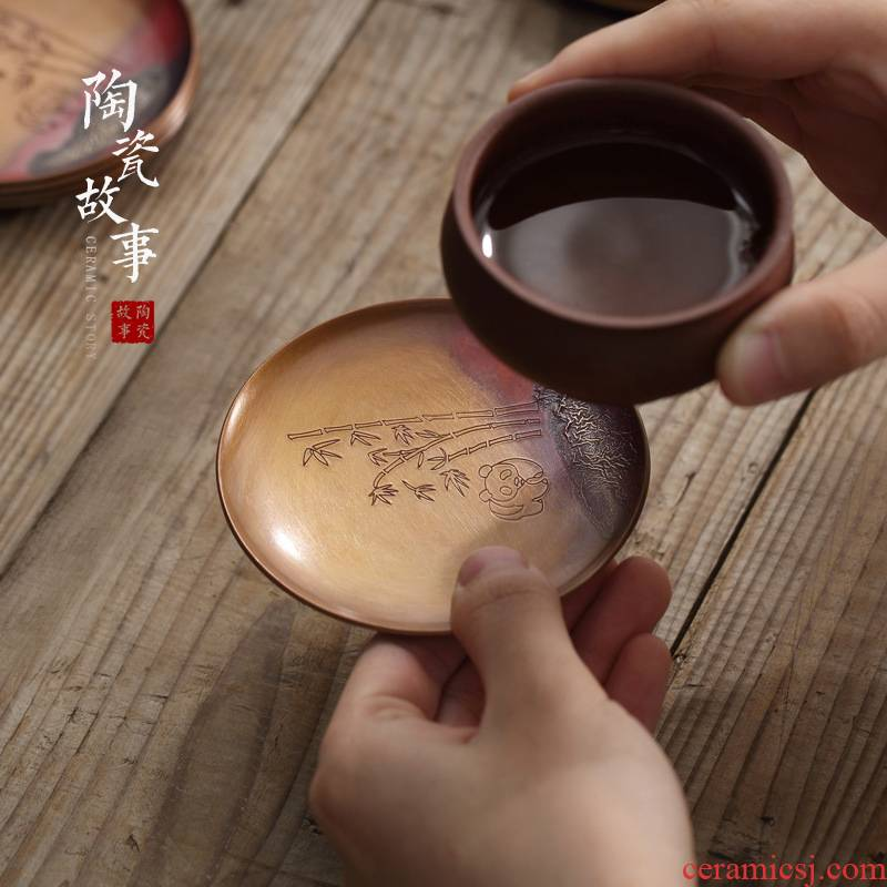 Ceramic story of pure copper mine loader silver cup mat checking retro zen Japanese cup insulation pad kung fu tea accessories