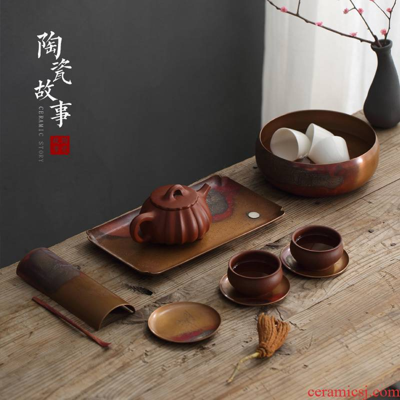 Ceramic story Japanese copper mine loader silver plate manually restoring ancient ways tea tray saucer cup mat cup insulation pad tea accessories