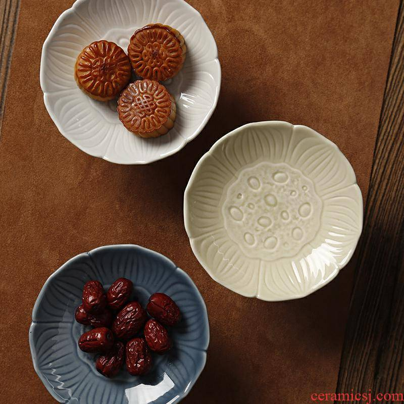 Zen lotus new Chinese style restoring ancient ways compote tea tray ceramic fruit nut bowl dessert plate tray type