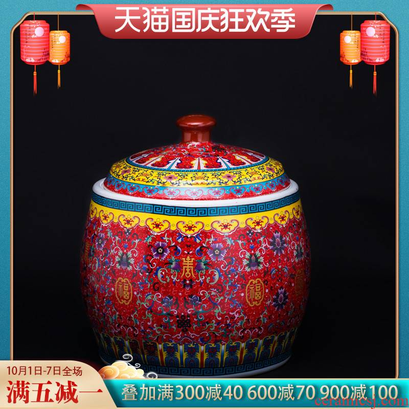 Jingdezhen ceramics colored enamel sitting room of Chinese style restoring ancient ways home decoration handicraft furnishing articles barrel storage tanks