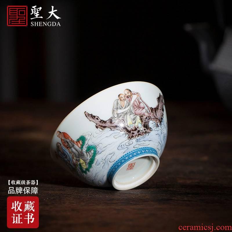 Santa teacups hand - made ceramic kungfu sample tea cup pastel fairy Buddha figure from continent cup manual of jingdezhen tea service master
