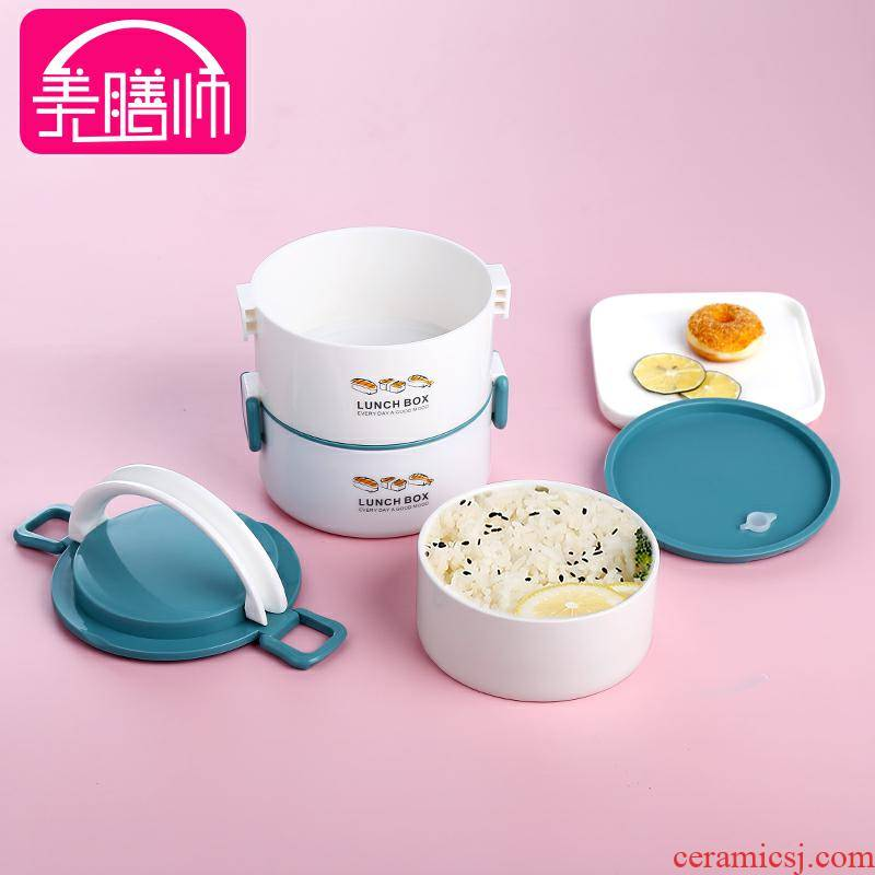 The microwave thermal insulation lunch box office worker multi - layer separation portable enamel - lined super - long insulation barrels of stainless steel