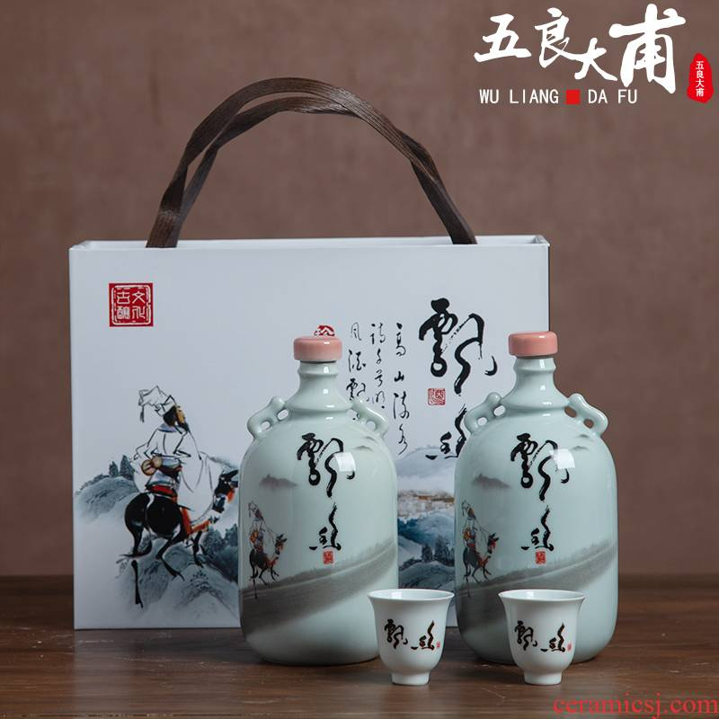 1 kg with jingdezhen ceramic jar with creative gift box wine bottles with hip household seal wine