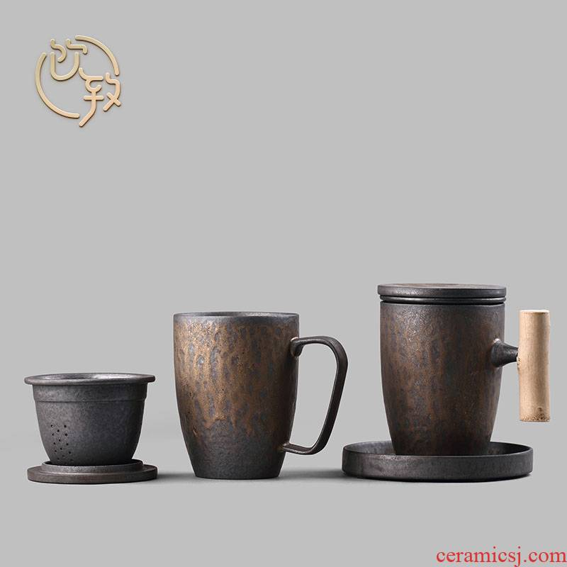 Ultimately responds to gold coarse pottery large office mark cup with cover filter cup tea ceramic take water cup of tea