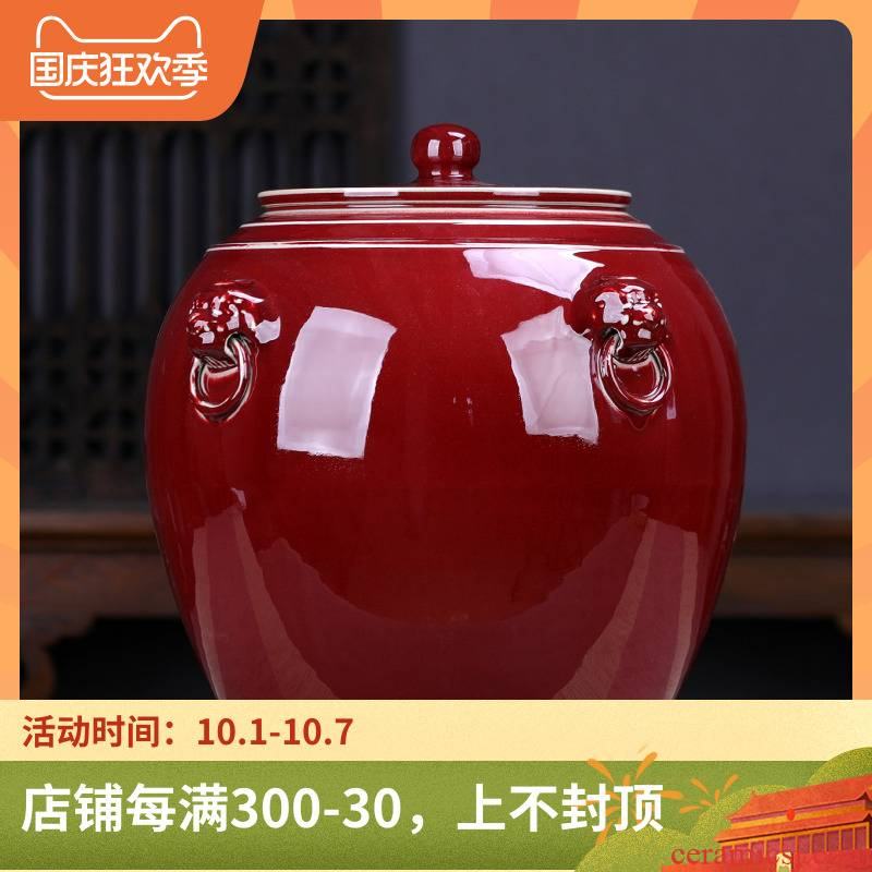 Jingdezhen red seven heavy cake caddy fixings large pu seal tank storage tea urn extra - large ceramic detong