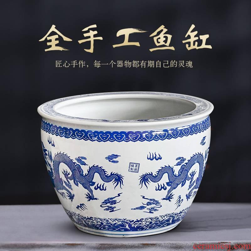 Jingdezhen ceramic aquarium bowl lotus lotus lotus cylinder cylinder tortoise home sitting room is blue and white bowl lotus basin water tanks