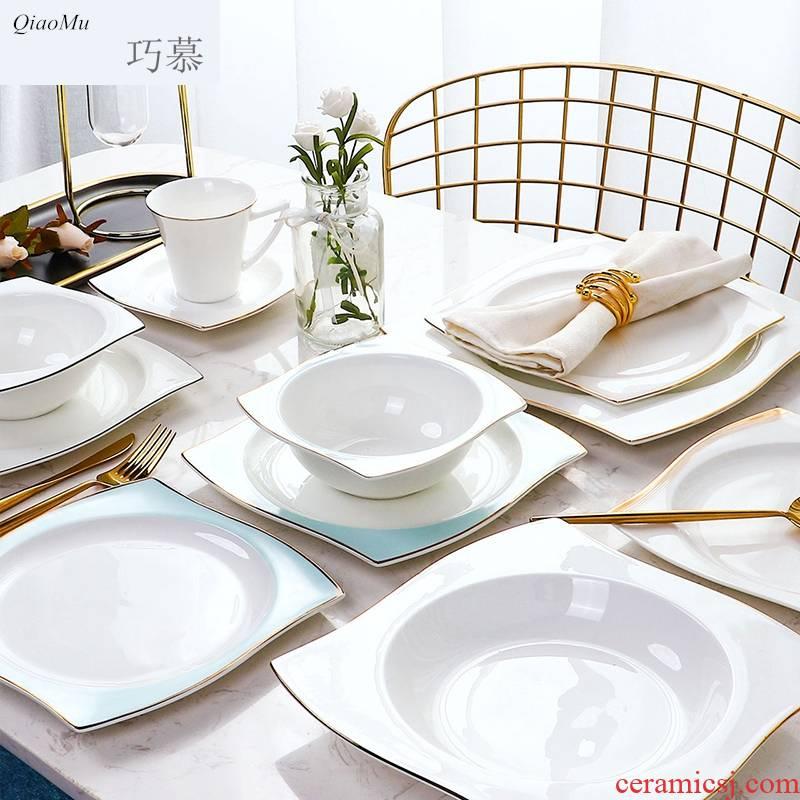 Qiao mu ou up phnom penh steak 0 creative dinner plate the suit household ceramic flat plate full