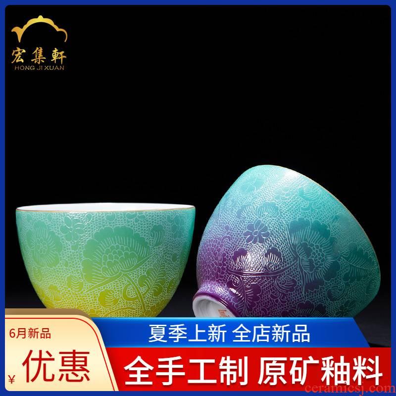 The Master cup noggin carmine pick flowers, jingdezhen ceramic sample tea cup single CPU pastel gradient kung fu tea cups